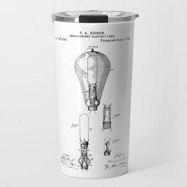 patent art Edison 1892 Incandescent electric lamp Travel Mug