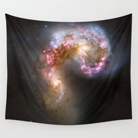 nasa Wall Tapestries featuring Bright nebula galaxy stars cluster hipster geek cool space star nebulae NASA photo sci-fi landscape by iGallery