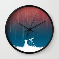 outdoor Wall Clocks featuring Meteor Rain (light version) by Picomodi