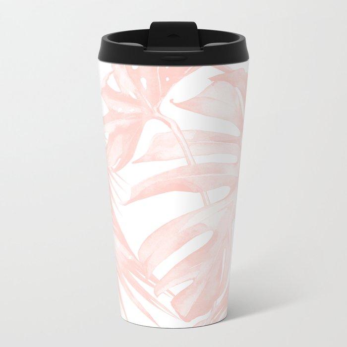 Tropical Leaves Pink and White Metal Travel Mug