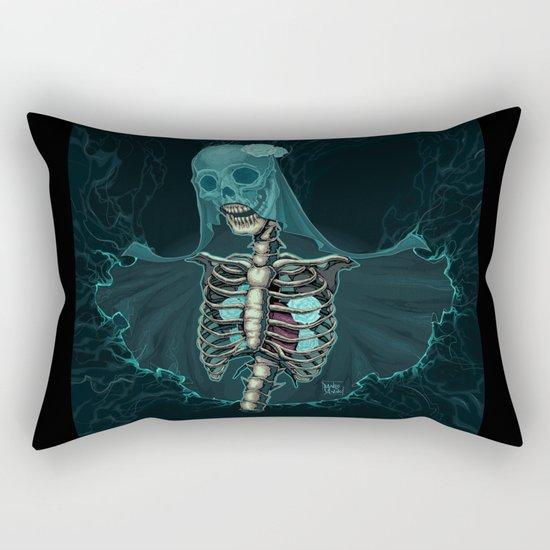 Skeleton with veil and white roses Rectangular Pillow
