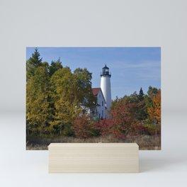 Pt Iroquois Lighthouse Fall Mini Art Print