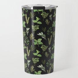 Delicate Herb Illustrations on Black Travel Mug