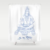 shiva Shower Curtains featuring SHIVA by Only Vector Store - Allan Rodrigo