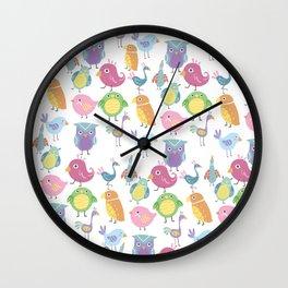 Hand drawn pink blue green orange birds illustration Wall Clock
