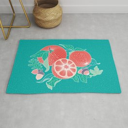 Oranges and Acorns with leaves Rug