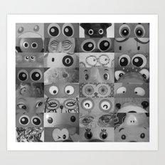Eyes Eyes Eyes BW Art Print
