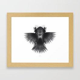 Strange Hummingbird 1.Black on white background. Framed Art Print