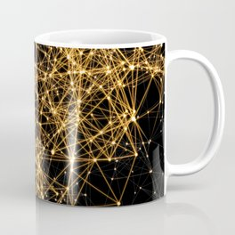 Shiny golden dots connected lines on black Coffee Mug