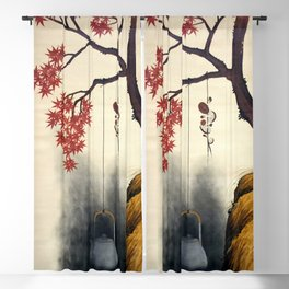 12,000pixel-500dpi - Shibata Zeshin - Autumn Maple, Shiitake Mushroom, Kettle - Digital Remastered Blackout Curtain