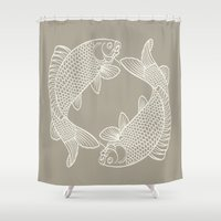 gray Shower Curtains featuring Koi Alabaster Blue Gray by Beautiful Homes
