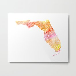 Typographic Florida - orange watercolor Metal Print