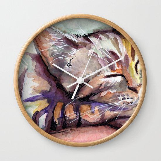 Sleeping Kitten Watercolor Cat Whimsical Cats Wall Clock