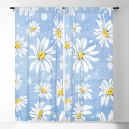 Spring Daisies On Sky Blue Watercolour Blackout Curtain