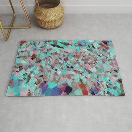 blue turquoise luxurious sparkling geometric crystals Rug