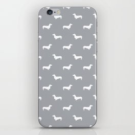 Dachshund pattern minimal grey and white dog lover home decor gifts accessories silhouette iPhone Skin