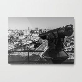 A coin operated scope and the Porto Cityscape, Porto, Portugal Metal Print