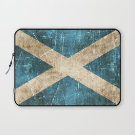 Vintage Aged and Scratched Scottish Flag Laptop Sleeve