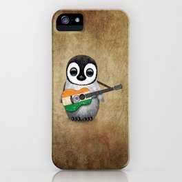 Baby Penguin Playing Indian Flag Acoustic Guitar iPhone Case