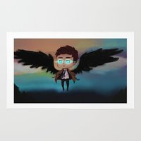 castiel Area & Throw Rugs featuring AvatarState!Castiel by The Paper Monster