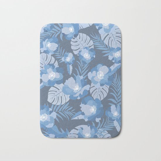 Tropical Leaves and Flowers Bath Mat
