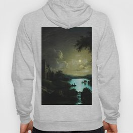 Classical Masteripiece 'A Castle and Lake by Moonlight' by Abraham Pether Hoody