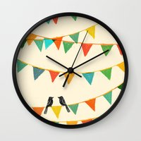 flag Wall Clocks featuring Carnival is coming to town by Picomodi