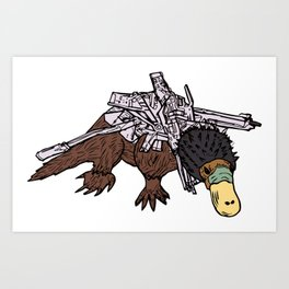 Battle Platypus Art Print
