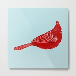 "Red Cardinal ""Digital Block Print"" Metal Print"