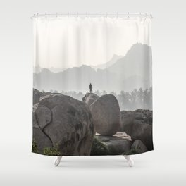 A Silhouette in the Monochromatic Boulders of India Shower Curtain