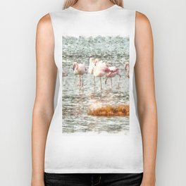 Six Flamingos A Wading Watercolor Biker Tank