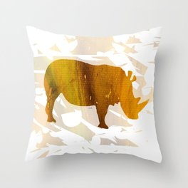 Colorful Art Rhino Abstract Yellow Throw Pillow