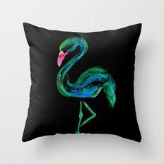 Flamingo black Throw Pillow