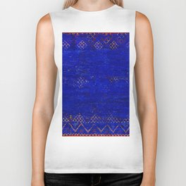 V11 Calm Blue Printed of Original Traditional Moroccan Carpet Biker Tank