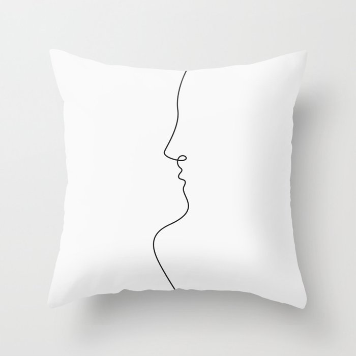 One line love Throw Pillow