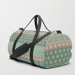 Flowers on stripes shabby chic pattern Duffle Bag