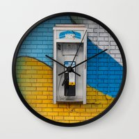 telephone Wall Clocks featuring Telephone by RMK Photography
