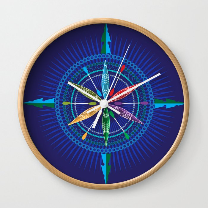 Kayak Compass Rose Wall Clock By Carswellking Society6