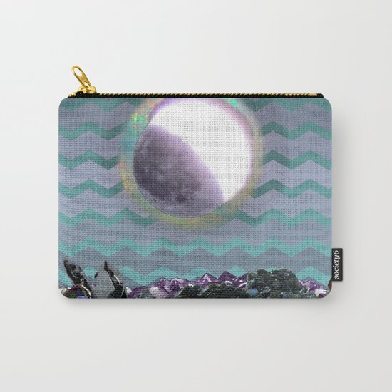 Moon Crystal Chevron Pattern Purple and Teal Carry-All Pouch