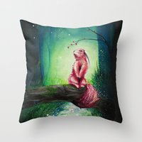 kodama Throw Pillows featuring KODAMA by _Shara_