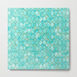 Luxury Aqua Teal and Gold oriental quatrefoil pattern Metal Print