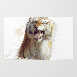 sabertooth tiger portrait watercolor Rug