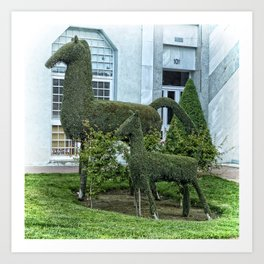 Horse and Foal Topiary Art Print