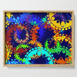 Texture of bright colorful gears and laurel wreaths in kaleidoscope style on a sea background. Serving Tray