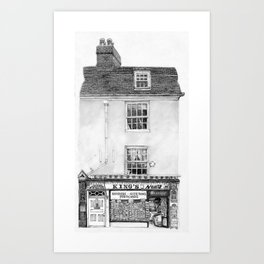 King's Newsagents, Kings Parade, Cambridge, UK. Art Print