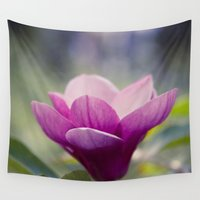 magnolia Wall Tapestries featuring magnolia by Sharon Mau