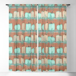 Bluegreen Pumpkins Sheer Curtain