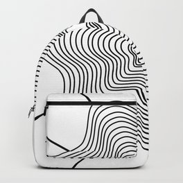 Black white curved lines Backpack