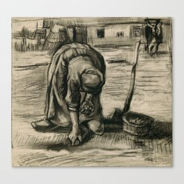 Vincent Van Gogh Peasant Woman Planting Potatoes Canvas Print