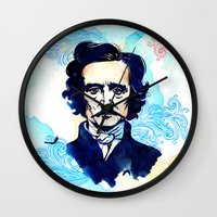 poe Wall Clocks featuring POE by Jon Cain